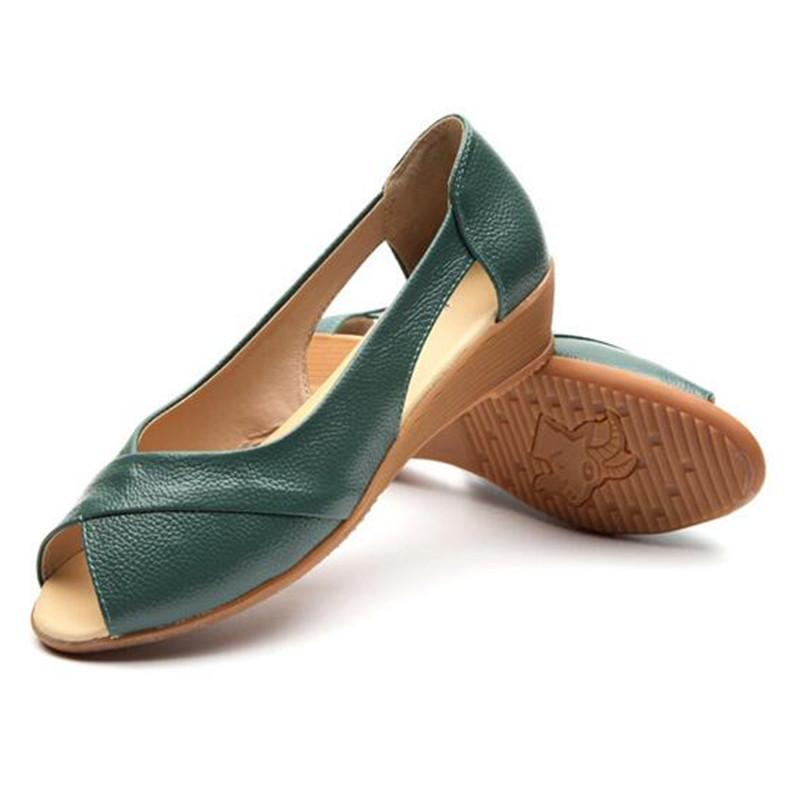 Genuine Leather Peep Toe Women Sandals Summer Wedge Flats Shoes