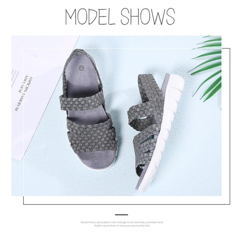 Corachic.com - Women Flat Sandals Shoes Woven Wedge Beach Slingback Sandals