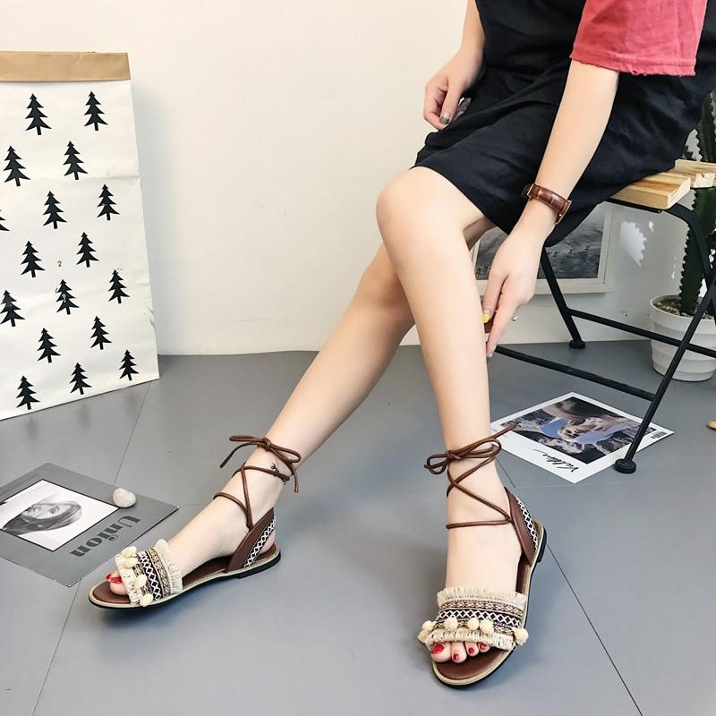 Designer Gladiator Sandals Flat Shoes Casual Bohemia Back Strap Tassel Shoes