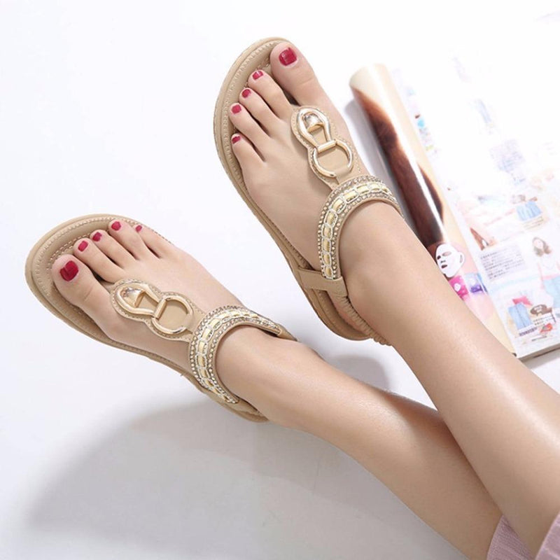 Women String Bead Flip Flop Metal Decoration Wedge Beach Sandals