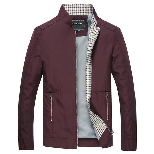 Men Casual Coats Stand Collar Bomber Jacket