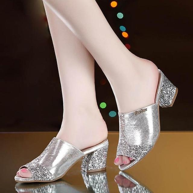 Corachic.com - Women Bling Square Heel Lace Slippers Hollow Sandals