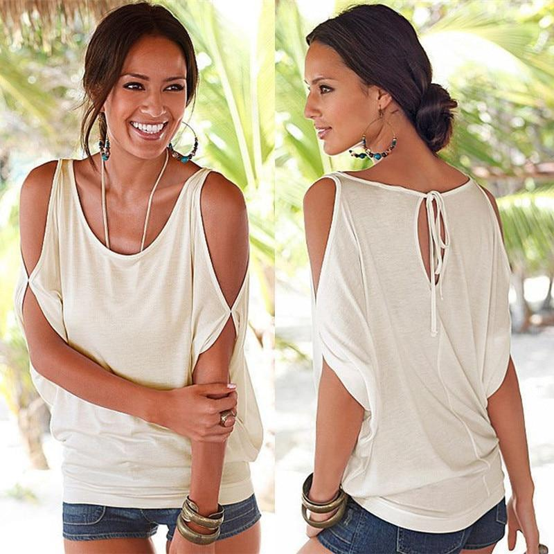 Women Casual Sexy Cold Shoulder Blouse Shirt Batwing Short Sleeve Lace up Blouse