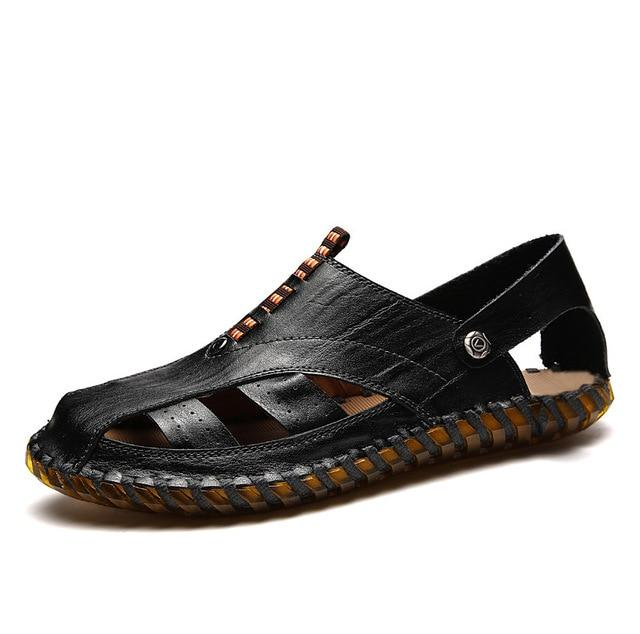 Men's Genuine Leather Sandals Breathable Beach Casual Sandal Shoes