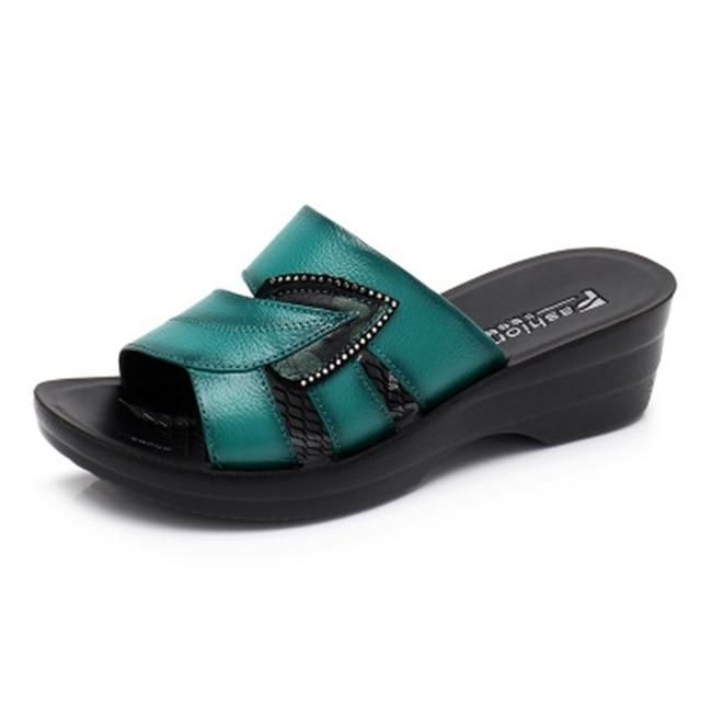 Women Slip On Leather Open Toe Sandals Flip Flops Wedges Platform Beach Shoes