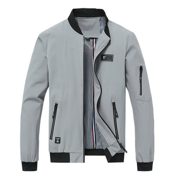 Men Streetwear Casual Solid Zipper Windbreakers Overcoat Bomber Jacket