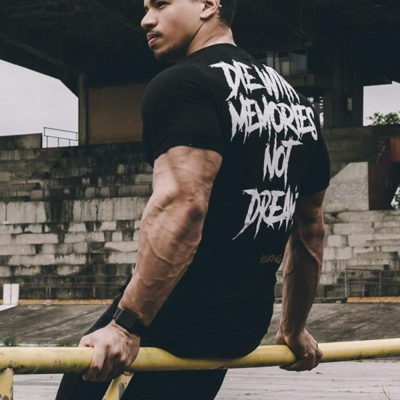 Men Short Sleeve Cotton t-shirt Summer Casual Fashion Gyms Fitness Bodybuilding T shirt Male Slim Tees Tops Clothing