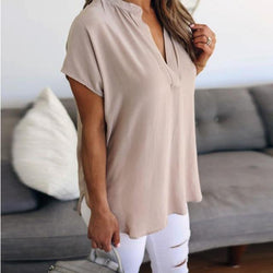 High Quality Ladies Chiffon V-Neck Solid Short Sleeve Casual Blouse Tops T-Shirt