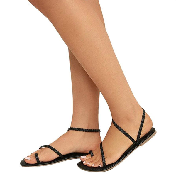 Corachic.com - Plus Size Thong Sandals Women Flip Flops Weaving Casual Beach Flat Rome Sandals