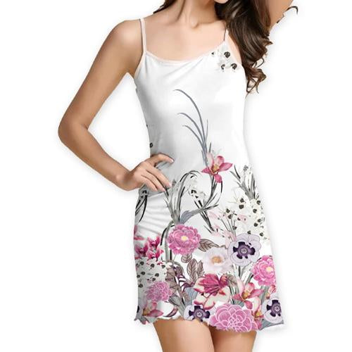 Summer Women Flower Print Strapless Mini Sexy Dress Casual Beach Dresses