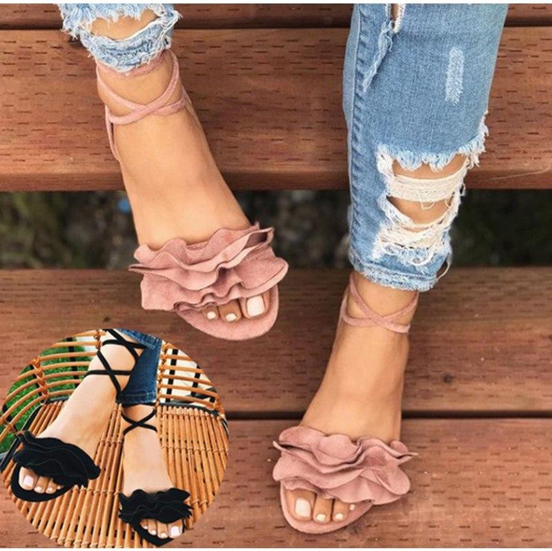 Flower Sandals For Women Gladiator Ankle Strap Plus Size Sandals