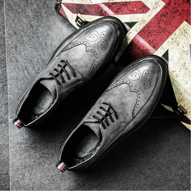 Retro Bullock Design Men Classic Business Formal Shoes Pointed Toe leather shoes Oxford Shoes