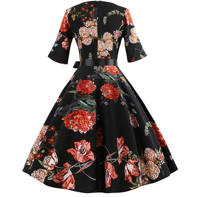 Women Floral Print Vintage Dress Long Sleeve Elegant Party Dress Plus Size