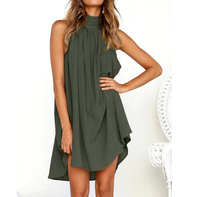 Holiday Irregular Dress Ladies Summer Beach Bohe Sleeveless Party dress