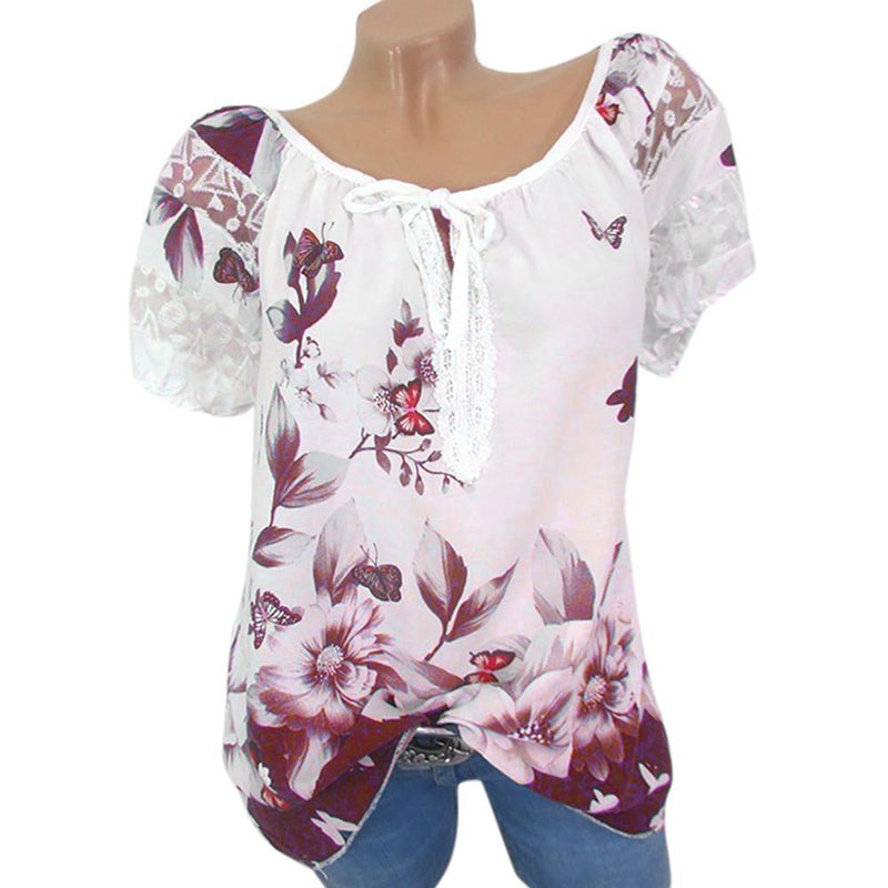 Plus Size 5XL Women Summer Blouse Tops Streetwear Floral Print Shirt Tunic