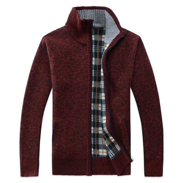 Men's Sweater Coat Sweater Jackets Men Zipper Knitted Thick Coat