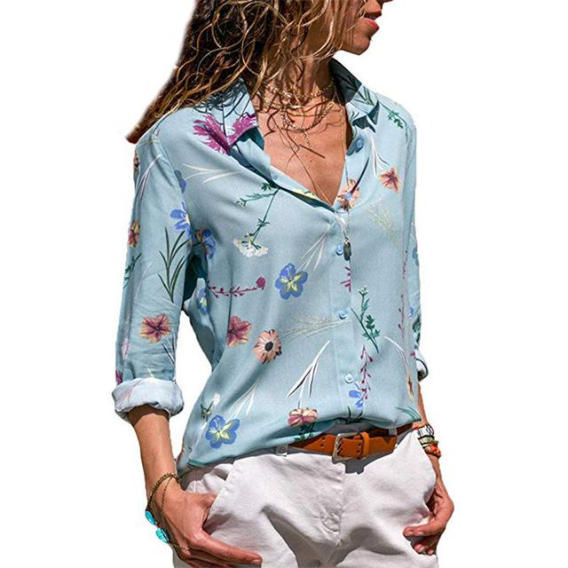 Corachic.com - Women Floral Print Long Sleeve Turn Down Collar Blouse Striped Tunic Plus Size Shirts