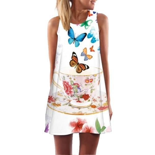 Women Leaves Print Casual Chiffon Sleeveless O neck Cute Summer Short Beach Dress