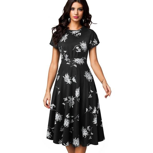 Women Vintage Elegant Floral Print Pleated Round neck A-Line Pinup Party Dress