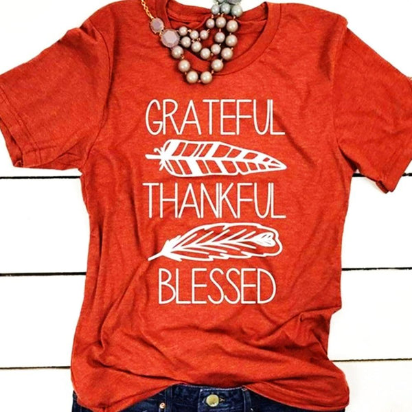 Corachic.com - Women T-shirt Summer Short Sleeve Tees Brick Red Blessed Feather Print O-Neck Tops
