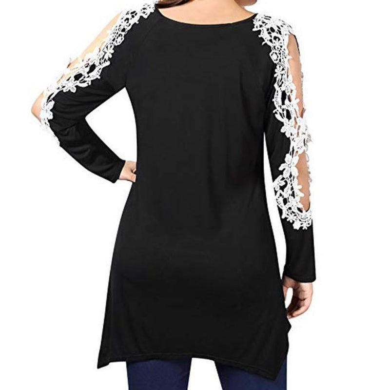 Plus Size Women Lace Patchwork Tunic Blouse Long Sleeve Casual Blouse Tops