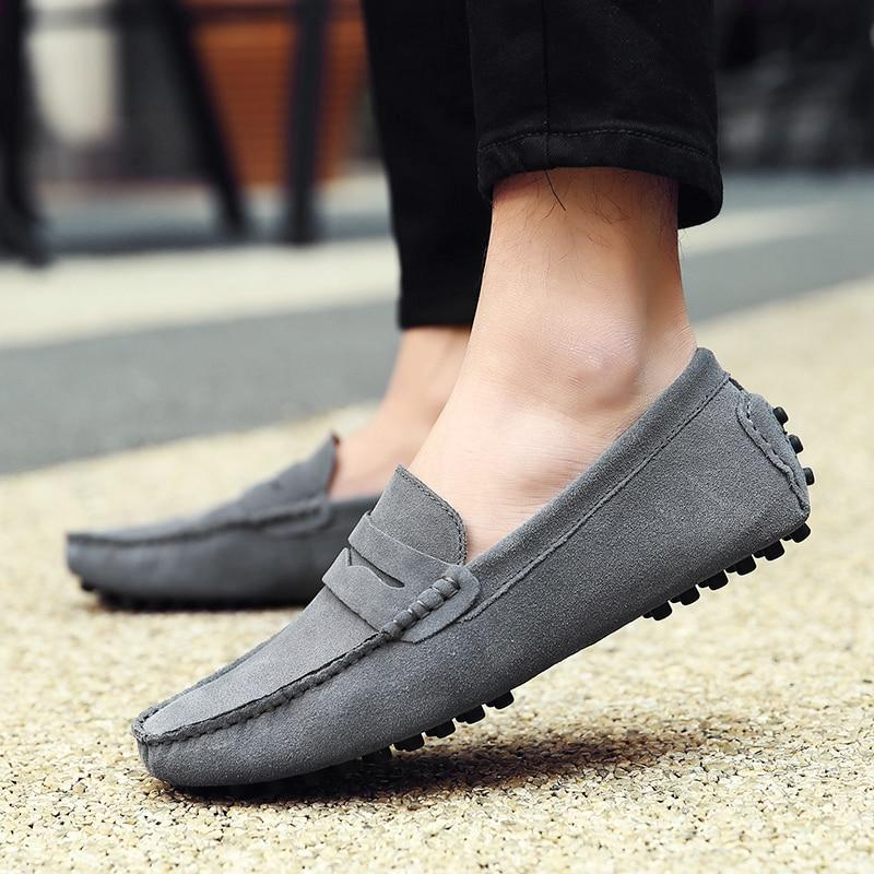 Men's Soft Loafers Moccasins Genuine Leather Flats Driving Shoes
