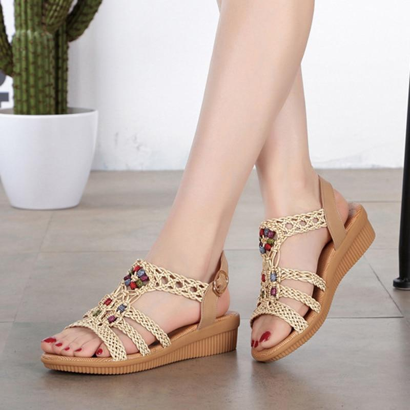 Ethnic Style Women Summer Woven Sandals Breathable Wedge Sandals