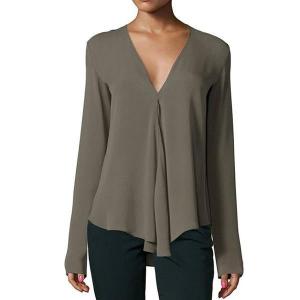 Corachic.com - Vintage Women Chiffon Blouse Shirt V-Neck Long Sleeve Casual Plus Size Blouse - Blouses