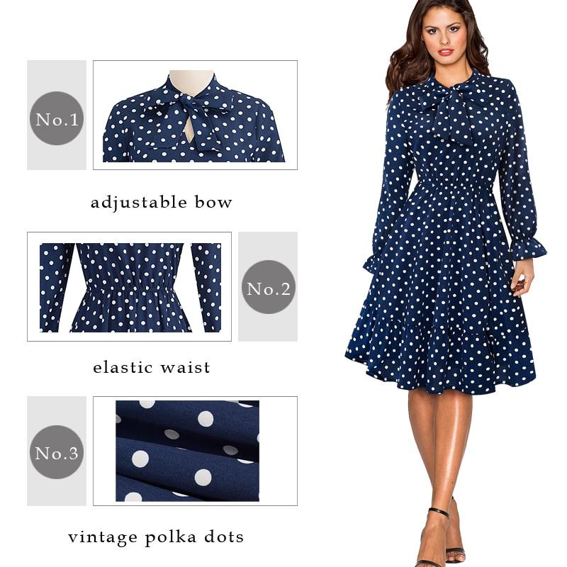 Corachic.com - Elegant Vintage Polka Dots Pinup Bow Business Party Flare A-Line Swing Dress - Dresses