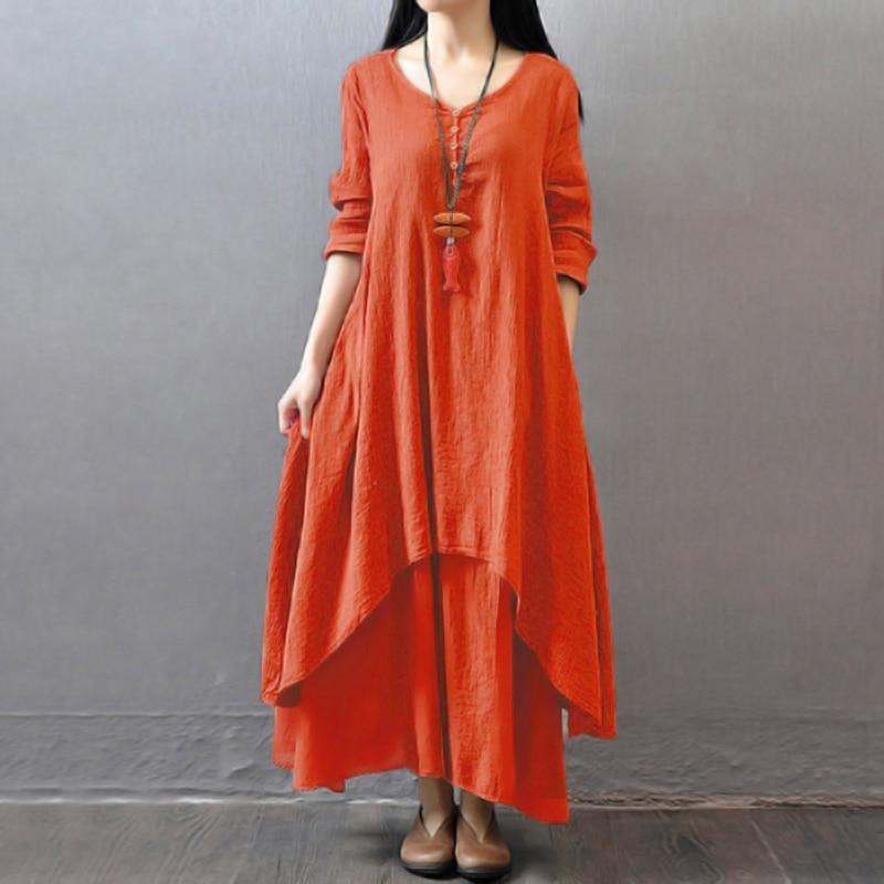 Vintage Women Casual Loose Dress Solid Long Sleeve Boho Ethnic Long Maxi Dresses