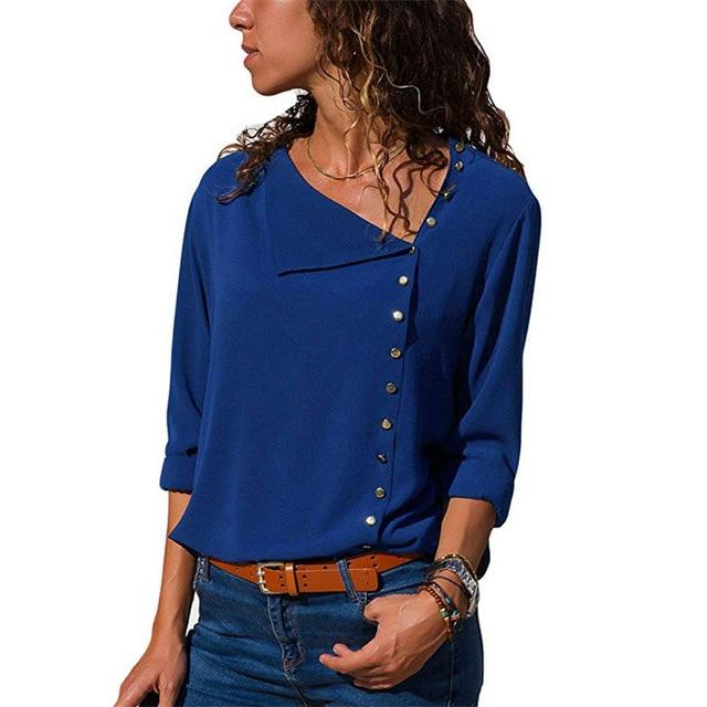 Corachic.com - Women Chiffon Blouse Long Sleeve Skew Collar Solid Casual Tops Blouse - Blouse & Tops