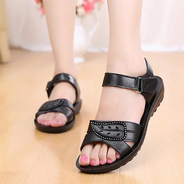 Summer Women Flat Sandals Genuine Leather Beach Shoes Anti Slip Causal Sandals