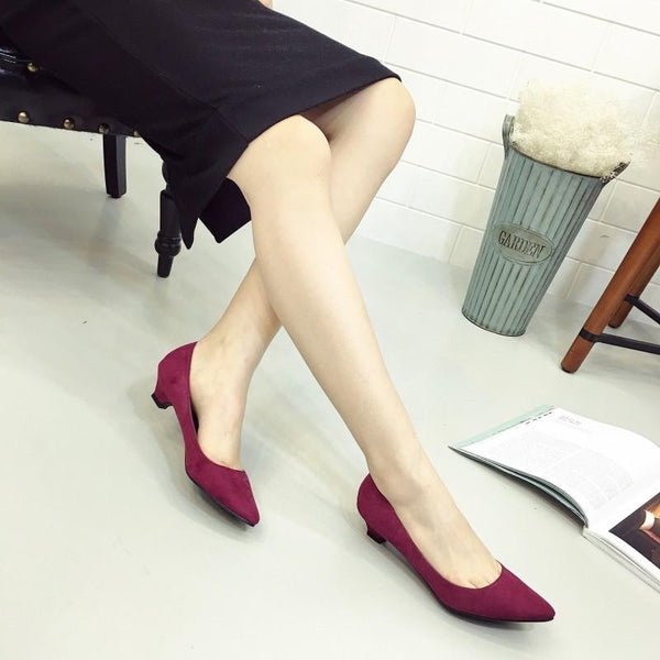 Women Low Heel Pumps Flock Plain Shallow Slip On Flats Shoes