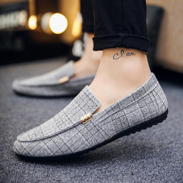 Men's Casual Loafers Slip On Light Canvas Breathable Flats Shoes
