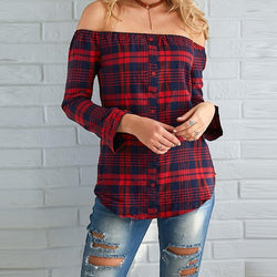 Women Plaid Shirt Sexy Off Shoulder Long Sleeve Tops Shirt Slash Neck Blouses