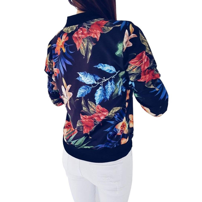 Women Coat Retro Floral Print Zipper Up Jacket Casual Coat Long Sleeve Outwear Women Basic Jacket Bomber