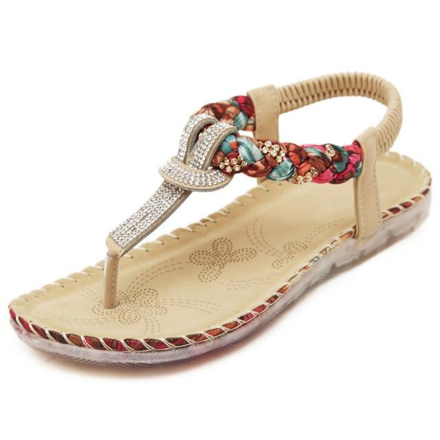 Rhinestone Summer Woman Bohemian Sandals Casual Flip Flops Flat Shoes