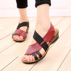 Women Slip-On Leather Sandals Peep Toe Soft Slippers Flat Shoes