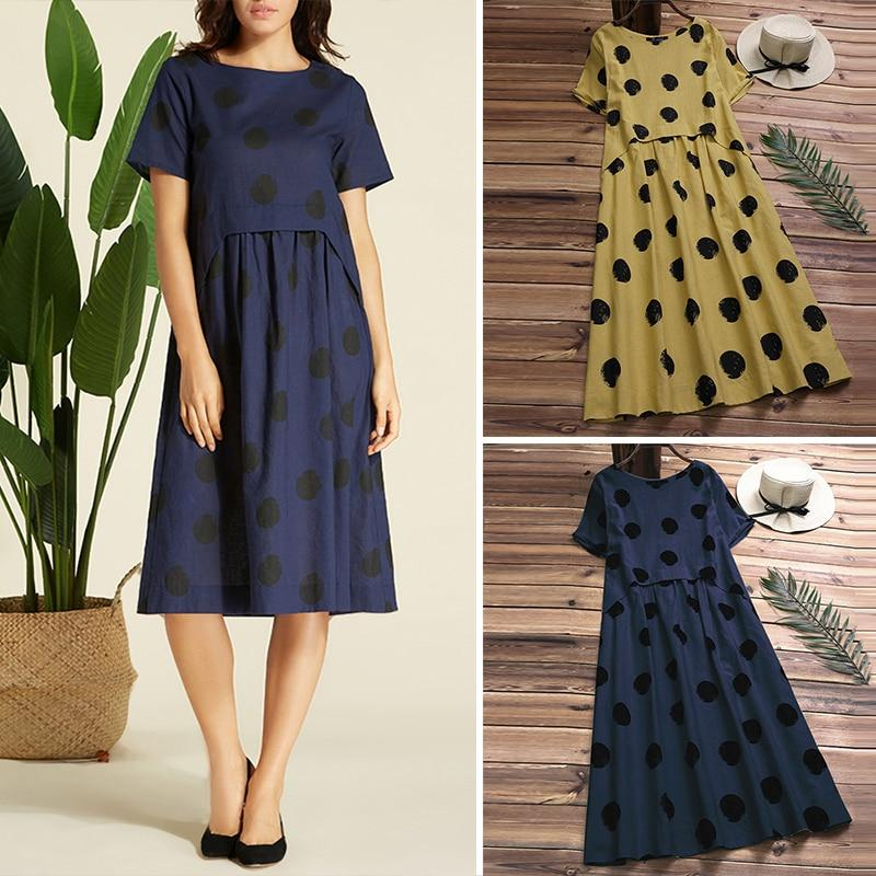 Dot Vintage Women Linen Summer Dress Plus Size Pleated Beach Sundress