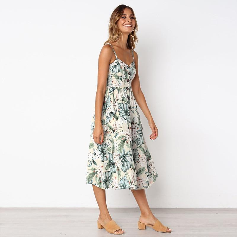 Corachic.com - Casual Vintage Sundress Boho Sexy Midi Button Backless Striped Floral Beach Dress - Dresses