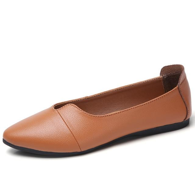 Women Genuine Leather Flats Slip On Loafers Shoes