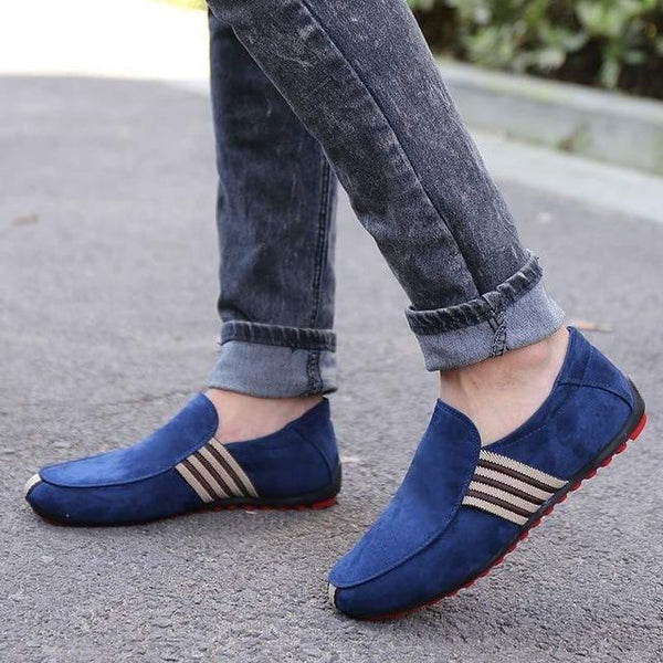 Men Suede Leather Loafers Driving Moccasins Casual Flats Shoes
