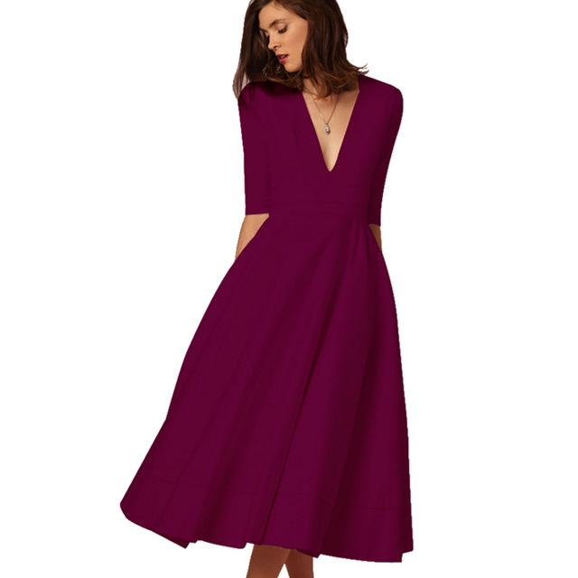 Corachic.com - Vintage Women Casual Plus Size Elegant Ball Gown Sexy V Neck Long Party Dresses - Dresses