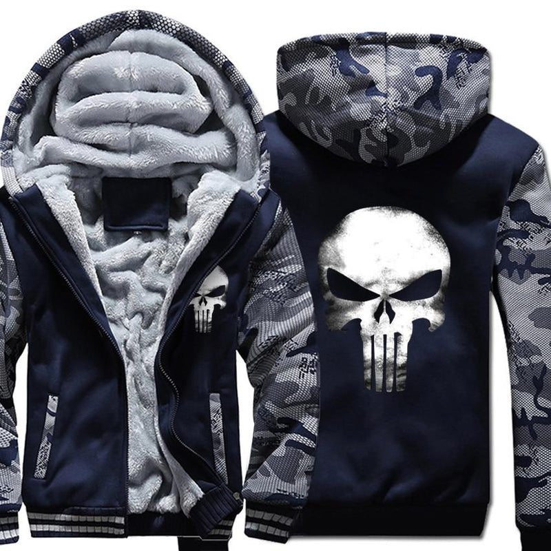 Men Hooded Skull Sweatshirt Thick Warm Fleece Hip Hop Streetwear Cool Camouflage Sportswear Hoodies Jackets