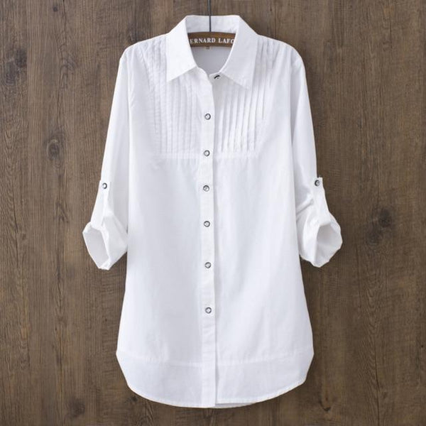 100% Cotton Women White Long-sleeved Slim Blouse Casual Shirts Button Tops