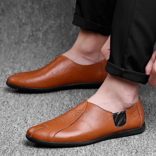 Men's Italian Casual Loafers Moccasins Breathable Slip on Black Driving Shoes