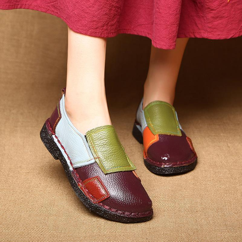 Genuine Leather Shoes Women Loafers Shoes Cute Mixed-color Soft Ballet Flats