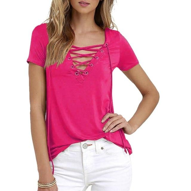 Corachic.com - Women Long Sleeve T-shirts Sexy Deep V Neck Bandage Shirts Tops