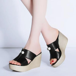Women Summer Genuine Leather Platform Wedges Sandals Fashion High Heels Shoes