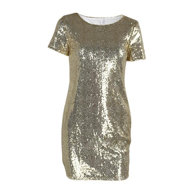 Corachic.com - Sequins Gold Dress Women Sexy Short T-Shirt Dress Evening Party Elegant Club Dresses